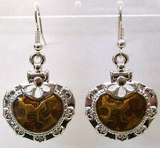NEW!! STYLISH  HONEY ENAMEL WHITE GOLD PLATED METAL EARRINGS....4.7cms
