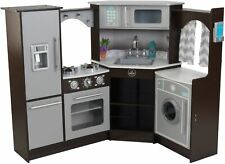 Kidkraft ULTIMATE CORNER KITCHEN + Lights Sounds Espresso BNIP