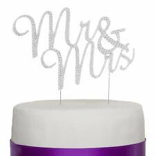 Mr & Mrs Wedding Cake Topper - Rhinestone Silver Metal Monogram Decoration