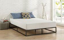 Bed Frames For Queen Size Beds Black Metal Low Profile Platform Wood Slats Base