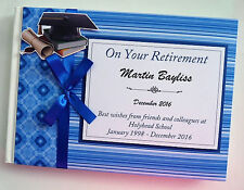PERSONALISED TEACHER RETIREMENT GUEST BOOK - BLUE
