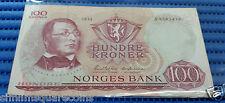 1974 Norway 100 Kroner Banknote Currency