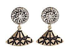 Fashion Retro Vintage Rhinestone Button Fan Shape Drop Stud Earrings AA