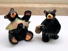 "(2) APPROX 6"" BEARFOOT BEARS FIGURINES ~ BEAR W FISH WAVING ~ MRS BEAR W BASKET"