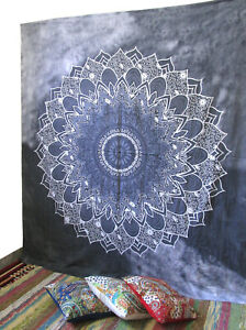 Queen Size Mandala Gray Wall Decor Hanging Tapestry Hippie Bohemian Bedspread