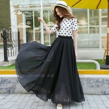 Women Lady Chiffon Long Skirt A Line Elastic High Waist Swing Boho Beach Fashion