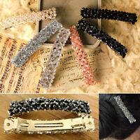 KQ_ KM_ FT- Fashion Women Crystal Hair Clip Snap Barrette Stick Hairpin Hair Acc