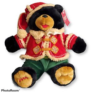 "Dan Dee Snowflake Teddy Friends Black Bear Plush 15"" Christmas 2006 Vest Hat"