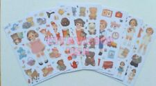 NEW! AFROCAT PAPER DOLL MATE STICKER SET 6 SHEETS, DOLL BEARS BOY GIRL STICKERS.