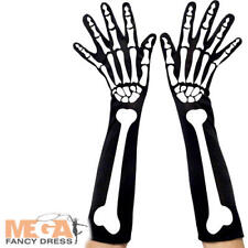 Skeleton Gloves Ladies Halloween Fancy Dress Costume Outfit Adult Accessory