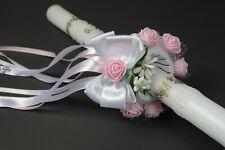 (212)  Kerzenrock weiß Rose Kreuz Tropfschutz Kerzentuch Kerzenkleid Kommunion