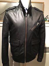 superdry Men's Leather Bomber/ Biker Jacket. Medium / Large.