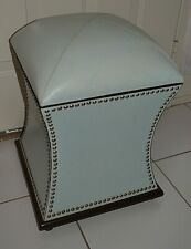 Global Views Leather Moroccan Poof Ottoman with Storage Light Blue Nickel Tacks
