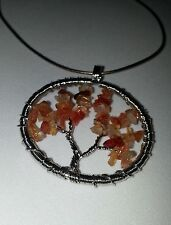 Red Agate Tree of Life Necklace
