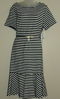 NWT Lauren Ralph Lauren Black White Stripe Belted Midi Dress Plus sz 2X