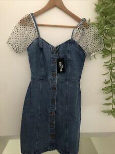 BNWT MISSGUIDED Organza Puff Sleeve Denim Cami Dress Size 10 RRP £36.00