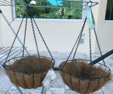 """2 Hanging Flower Plant Pots 14"""" Wrought Iron Hanging Basket with Coconut Liners"""