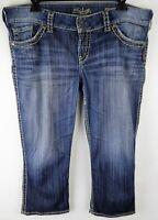 Silver Jeans Womens Size 34 Medium Wash McKenzie Capri Embroidered Denim
