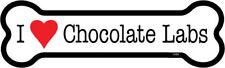 "I Heart (Love) Chocolate Labs Dog Bone Car Magnet  2""x7"" USA Made Waterproof"