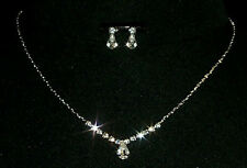 BRIDAL / BRIDESMAID NECKLACE & EARRING SET WEDDING JEWELLERY SET, PEAR DROP,GIFT