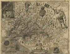HUGE VINTAGE 1607 historic JOHN SMITH VIRGINIA MAP OLD ANTIQUE STYLE art print