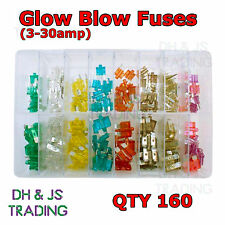 Assorted Box of Glow Blow Fuses (3-30 amp) Fuse Qty 160 Mini Smart Blade