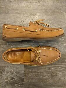 Sperry Top Sider Dark Bottom Leather Boat Shoe Men's Slip On Loafer Size 12