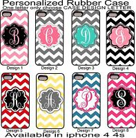 For iPhone 4 4s  Personalized Monogram One Letter Pink Chevron Rubber Phone Case