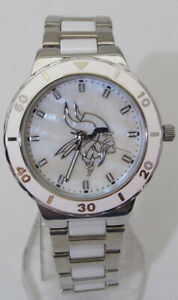 Minnesota Vikings Mother of Pearl Watch NFL-PEA-MIN Game Time Wristwatch