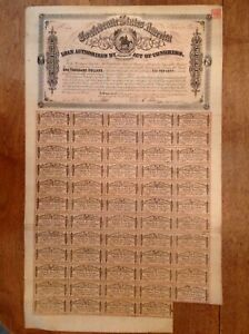 -1864 $1000 Confederate States of America - CSA Civil War Bond