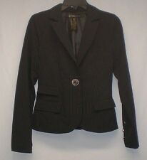 Grass Collection Womens Black Pinstriped Lined Size Large Blazer