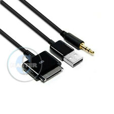 CAR AUX 3.5mm AUDIO LINE OUT iPAD USB CABLE for iPOD NANO TOUCH iPHONE 4s 4 3Gs