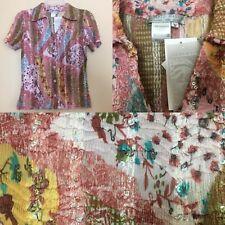 NWT Alberto Makali M Pink Crinkled Beaded Blouse Shirt Top Short Sleeve NEW $130
