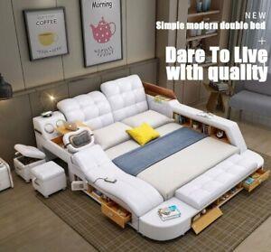 Luxury Genuine Leather Multifunctional Massage Bed 1.8m Frame Modern Ultimate