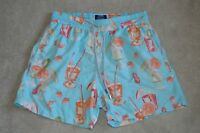 Vilebrequin Blue Cocktail Drink Print Mens Swimming Shorts Trunks Mens Size XL