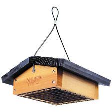 Hanging Cedar Wood Suet Bird Feeder Upside Down Stainless Steel Wire Mesh Basket