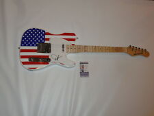 DWIGHT YOAKAM SIGNED USA FLAG ELECTRIC GUITAR COUNTRY LEGEND EXACT PROOF JSA COA