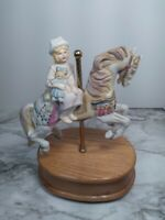 Vintage Willitts 1989 Carousel Music Box, Young Girl w/ Doll on Horse