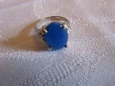Silver Tone & Blue Glass Oval Ring in Size K - NWOT