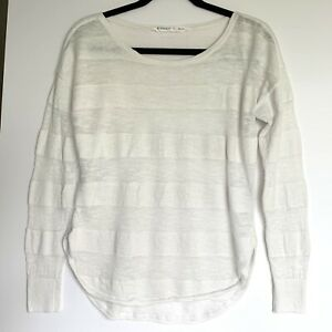 Athleta Women's S White Long Sleeve Lite weight Sweater Linen Cotton Stripe