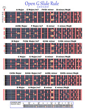 OPEN G SLIDE RULE CHART - GBDGBD - 6 STRING LAP STEEL GUITAR BLUES COUNTRY ROCK