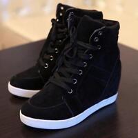 Women's Hidden Heel Lace Up Sneakers Shoes Casual Pumps High Top New Ankle Boots