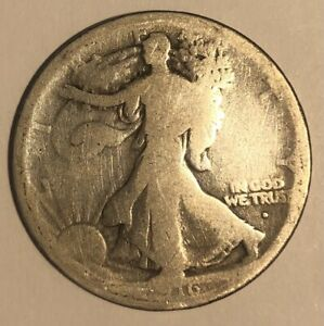 1916 D Walking Liberty Half Dollar 50 Cent US Coin Walker - 347R8