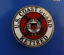 BRAND NEW Lapel Pin United States Coast Guard RETIRED Red & White Enamel 15/16""