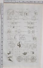 1788 ANTIQUE PRINT PERSPECTIVE PROJECTION SCENOGRAPHY DIAGRAMS SHADOW