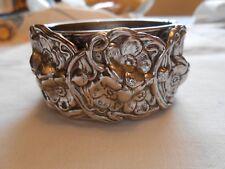 "Vintage Silver Tone1 1/4"" Wide Bangle Bracelet with Flowers - C3"
