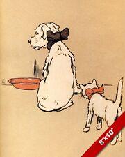 PESKY CAT PET PUPPY DOG ANIMAL ART CECIL ALDIN PAINTING PRINT ON REAL CANVAS