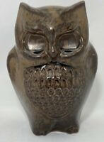 "Otagiri Pottery Owl Figurine Brown Glazed 5.75""H x 4""W Mid-century Vintage Japan"