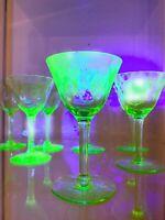 Pairs of Two - Uranium Vaseline Glass Depression Sherry Cordials Antique Vintage