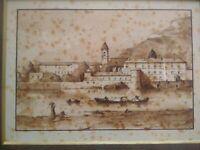 Dessin original à la plume paysage fin XVIIIème -début XIXème encre architecture